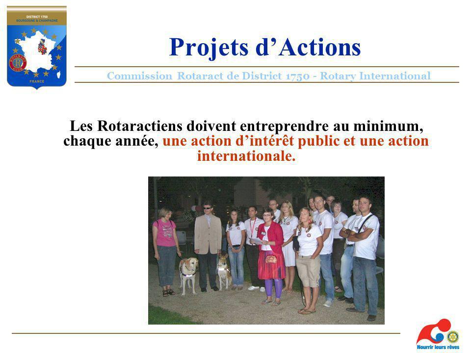 Commission Rotaract de District 1750 - Rotary International Projets dActions Les Rotaractiens doivent entreprendre au minimum, chaque année, une action dintérêt public et une action internationale.