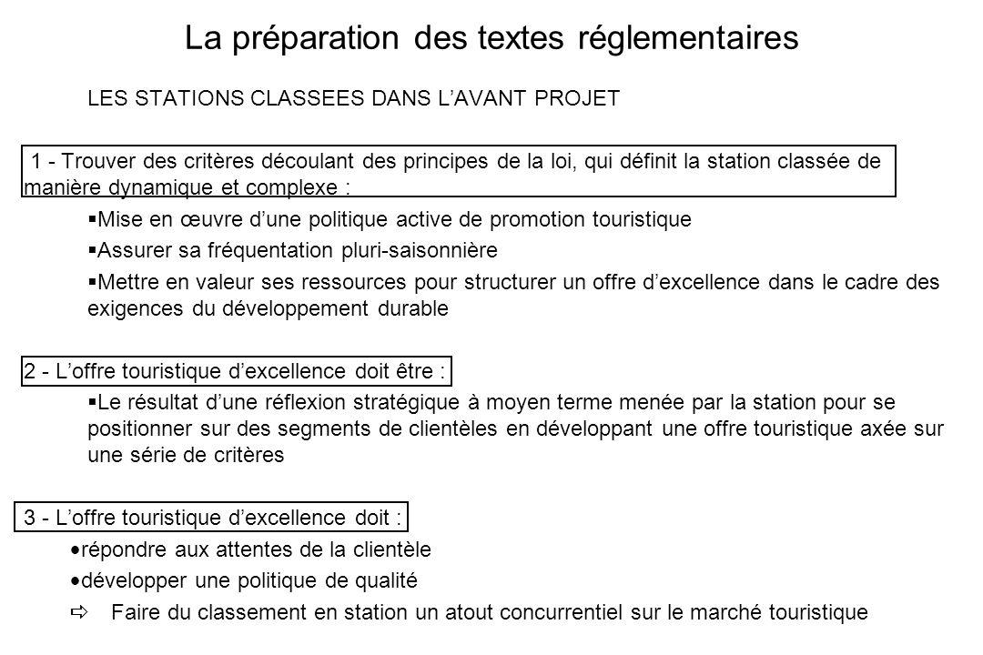 La préparation des textes réglementaires LES STATIONS CLASSEES DANS LAVANT PROJET 1 - Trouver des critères découlant des principes de la loi, qui défi