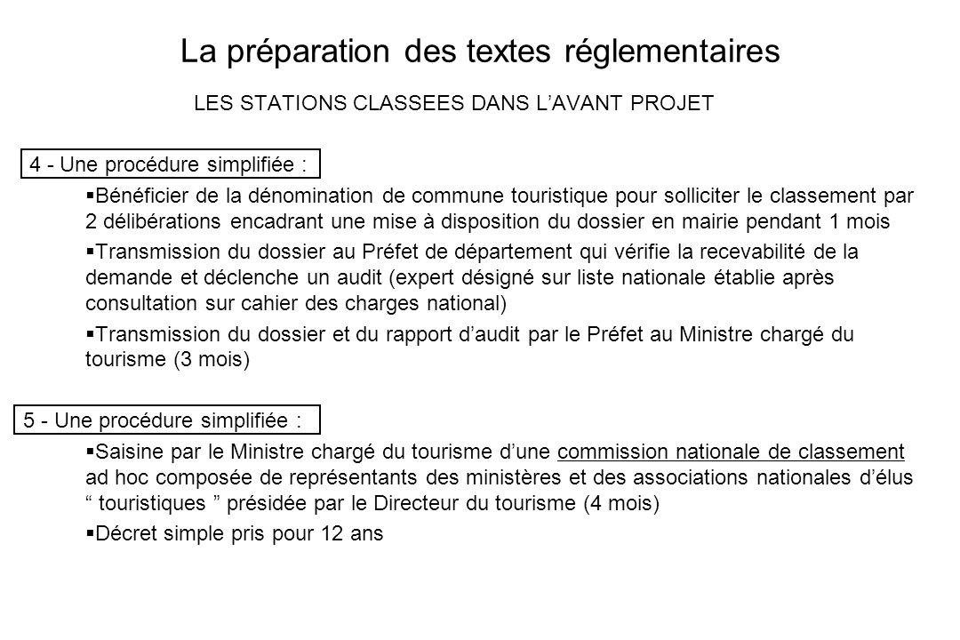 La préparation des textes réglementaires LES STATIONS CLASSEES DANS LAVANT PROJET 4 - Une procédure simplifiée : Bénéficier de la dénomination de comm