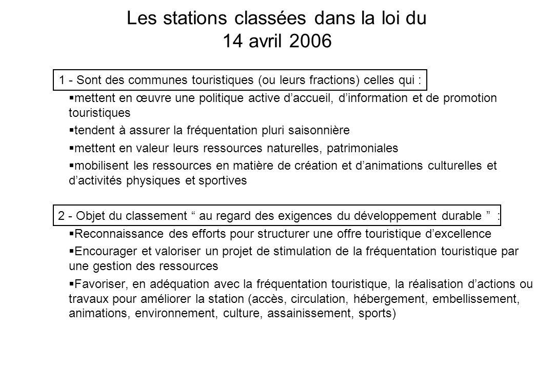 Les stations classées dans la loi du 14 avril 2006 1 - Sont des communes touristiques (ou leurs fractions) celles qui : mettent en œuvre une politique