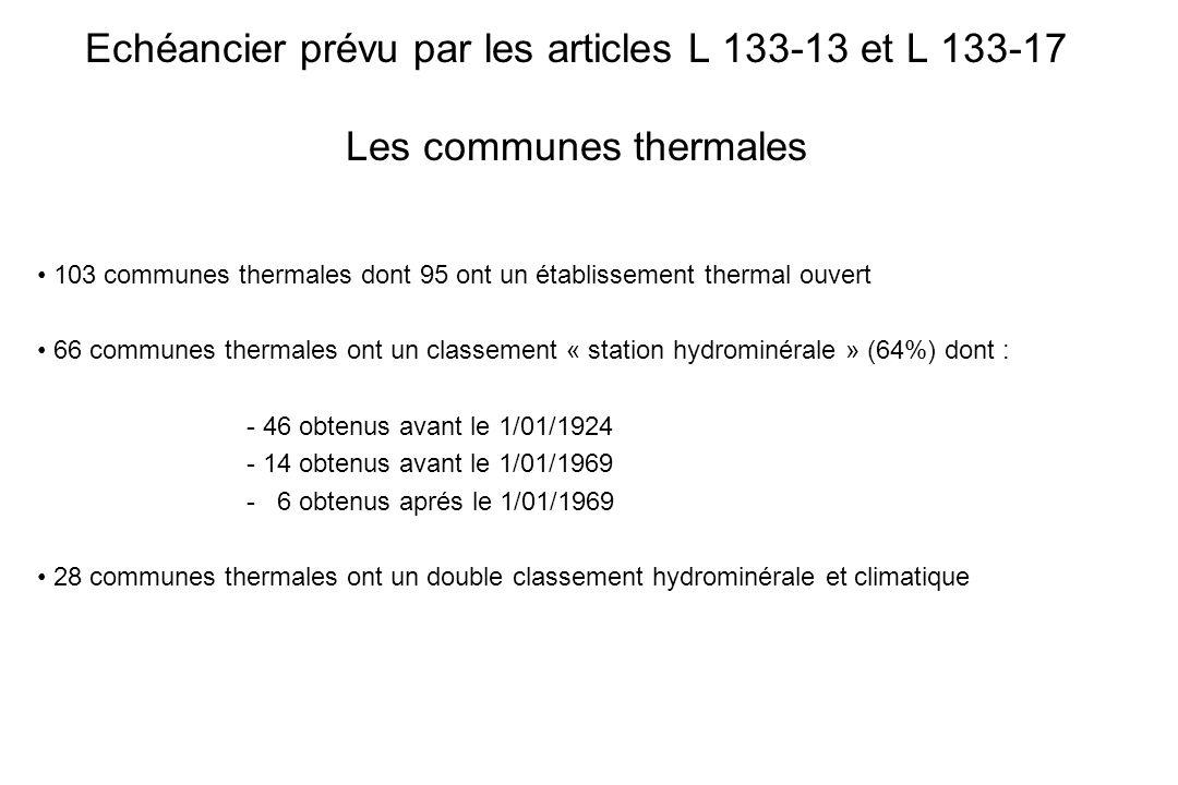 Echéancier prévu par les articles L 133-13 et L 133-17 Les communes thermales 103 communes thermales dont 95 ont un établissement thermal ouvert 66 co