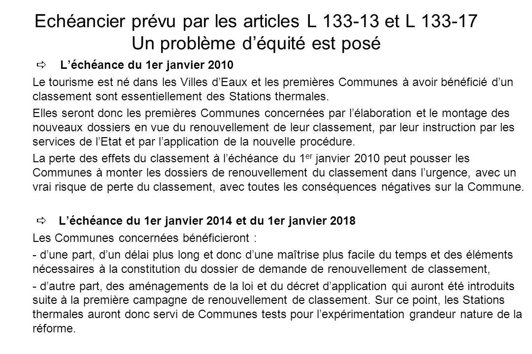 Echéancier prévu par les articles L 133-13 et L 133-17 Un problème déquité est posé Léchéance du 1er janvier 2010 Le tourisme est né dans les Villes d