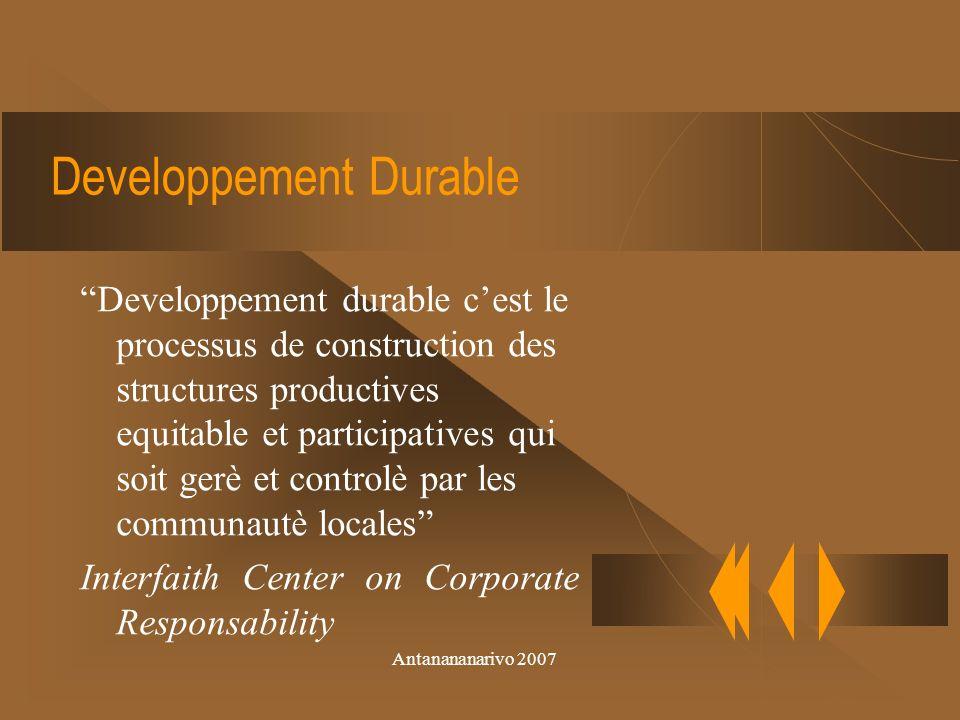 Antanananarivo 2007 Lenvironnment et lUnesco Decennie des Nation Unies 2005-2014 Eduquer pour le developpement durable cest laffaire de toius et de chacun.