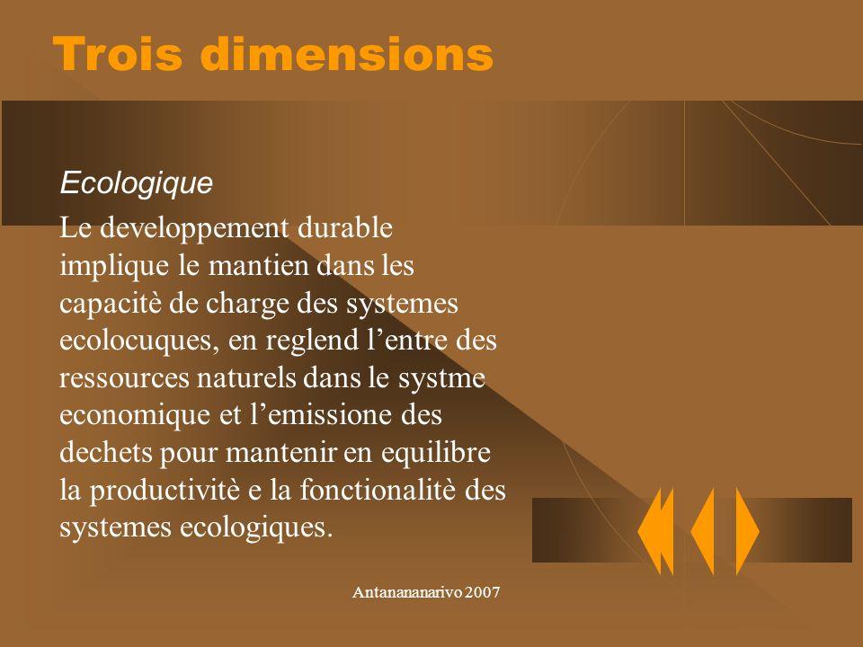 Antanananarivo 2007 Economique La tradition de la teorie ecomique dit que la durabilitè corresponde à la capacitè de mantenir le capital.