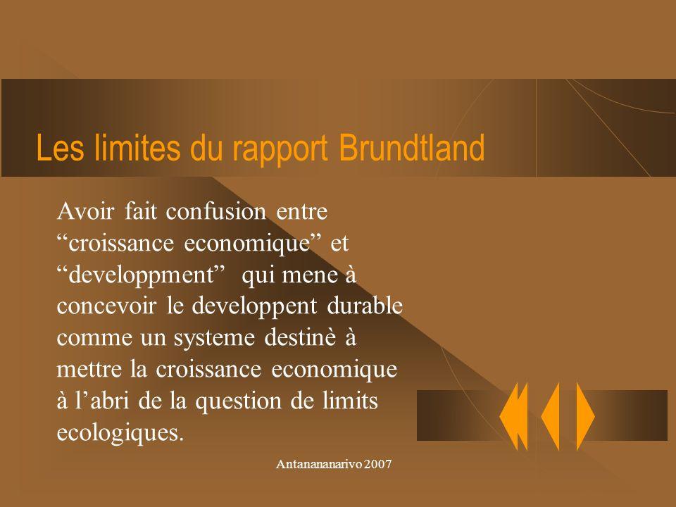 Antanananarivo 2007 Mots-clef due rapport Brundtland globalitè durabilitè
