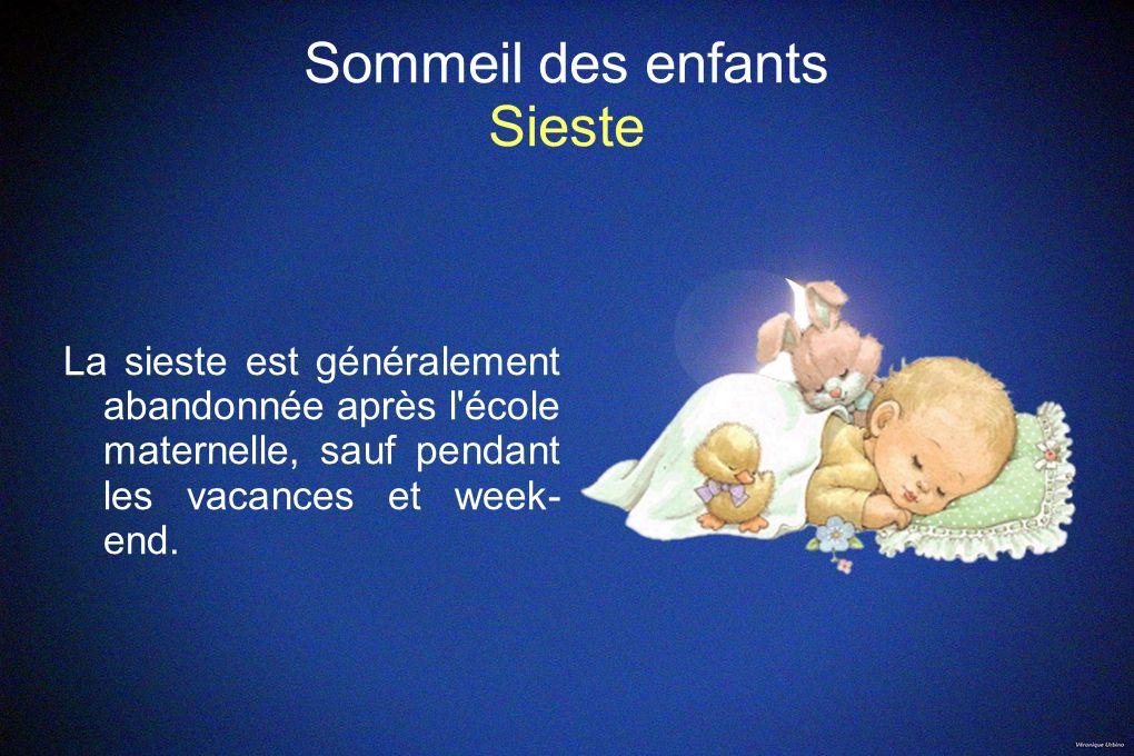 Sommeil des enfants Sieste La sieste est généralement abandonnée après l'école maternelle, sauf pendant les vacances et week- end.