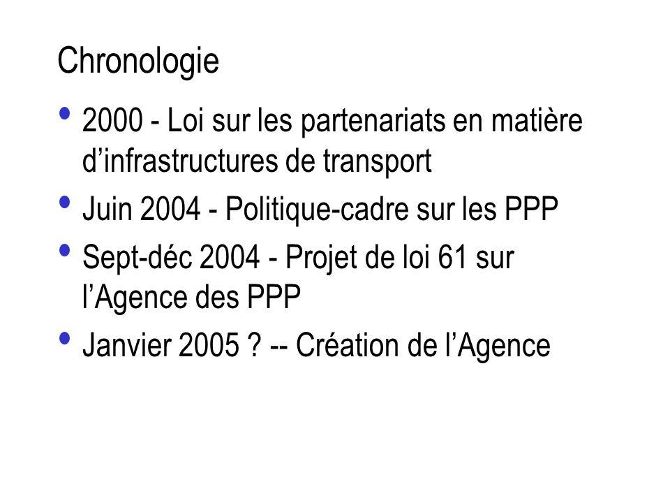 Chronologie 2000 - Loi sur les partenariats en matière dinfrastructures de transport Juin 2004 - Politique-cadre sur les PPP Sept-déc 2004 - Projet de