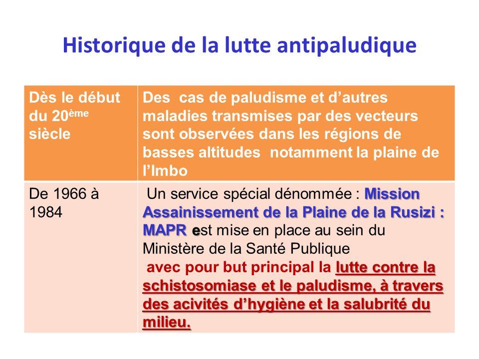 Historique de la lutte antipaludique Dès le début du 20 ème siècle Des cas de paludisme et dautres maladies transmises par des vecteurs sont observées