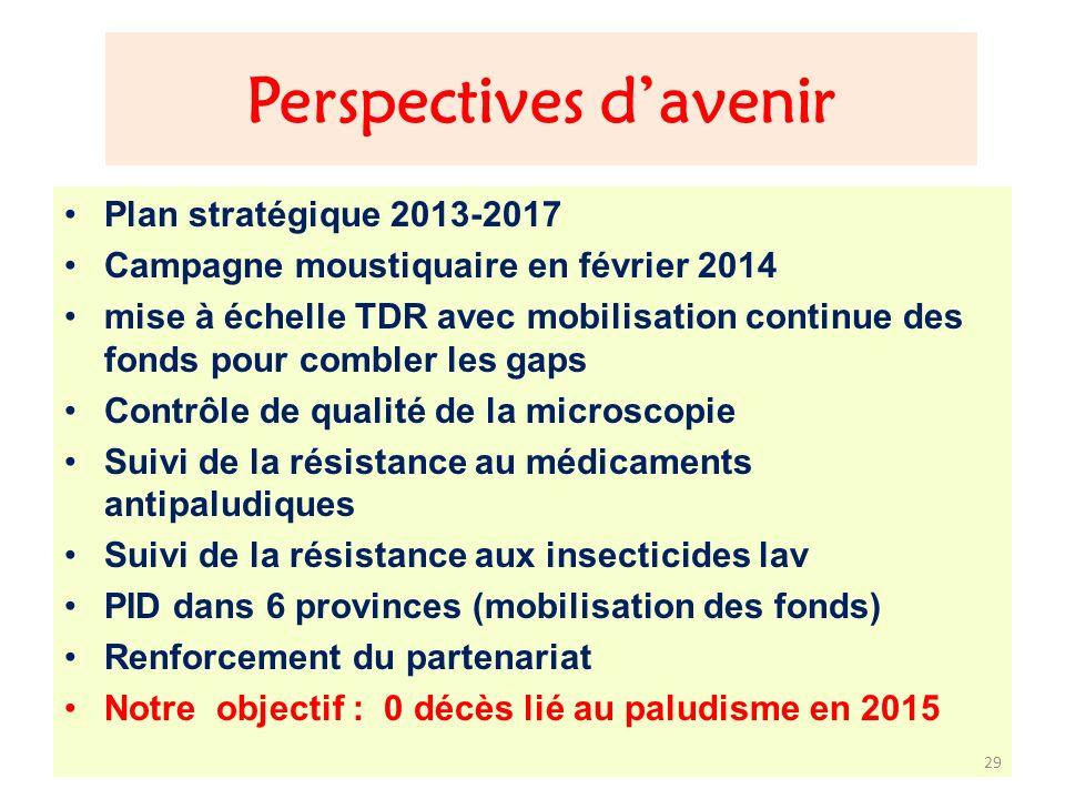 Perspectives davenir Plan stratégique 2013-2017 Campagne moustiquaire en février 2014 mise à échelle TDR avec mobilisation continue des fonds pour com