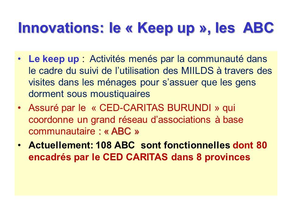 Innovations: le « Keep up », les ABC Le keep up : Activités menés par la communauté dans le cadre du suivi de lutilisation des MIILDS à travers des vi