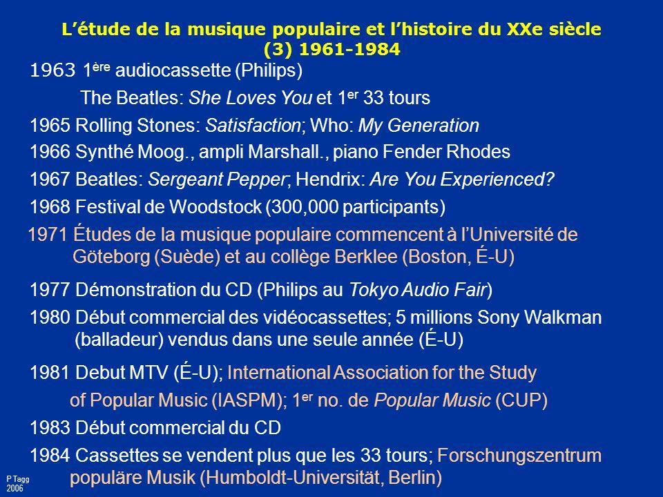 1934 275,000 juke boxes aux É-U 1934-39; Muzak Corporation fondée 1935 75% du temps dantenne de la BBC = la musique 1936 1 er concert enregistré sur b