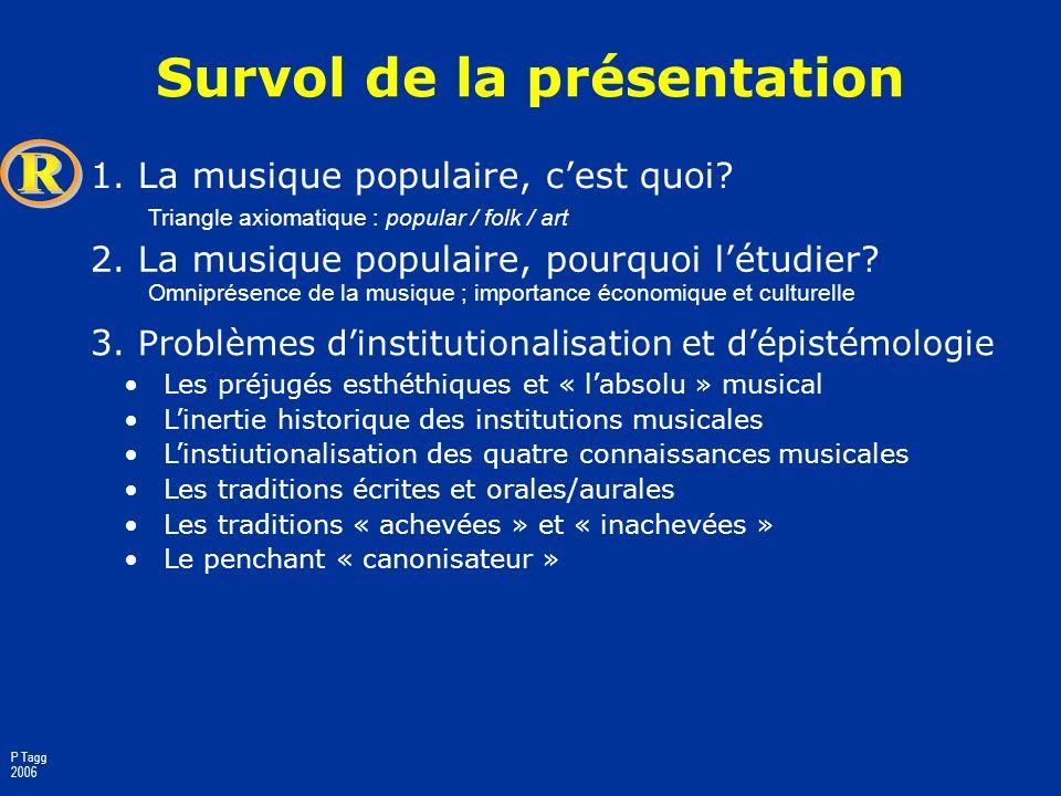 Introduction aux études de la musique populaire Philip Tagg Montréal, septembre 2006 basée sur Popular Music Studies: Progress or Falsification, The R