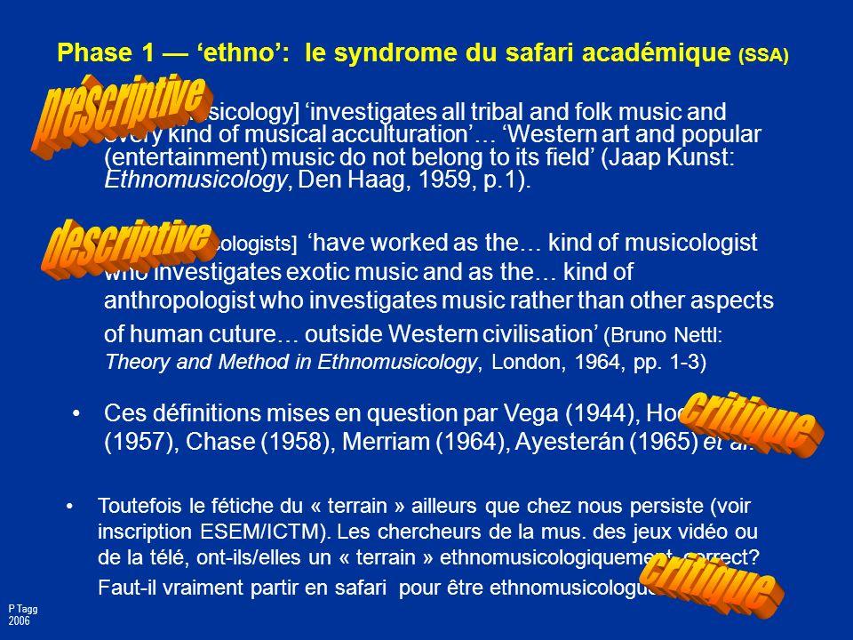 Phase 1 ethno: importance aux études de la musP Enreg. des mus. non-TCCE : musiques non-écrites disponibles à tous; plus dimpératif de notation. Diffu
