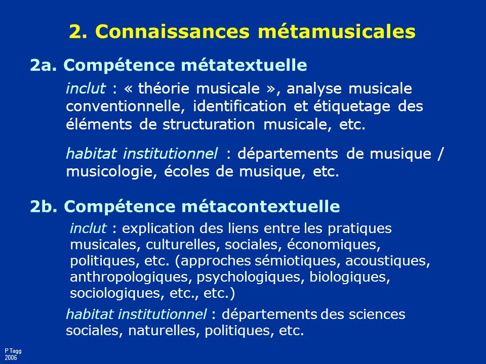 1. Musique comme connaissance 1a. Compétence constructionnelle / poïétique inclut : création, production, composition arrangement, interprétation, etc