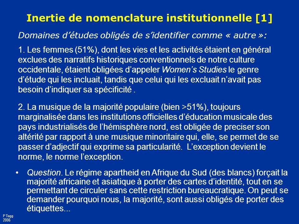 Préjugés socio-esthétiques contre la musique populaire dans les institutions officielles déducation et de recherche P Tagg 2006 Ce nest ni sérieux ni