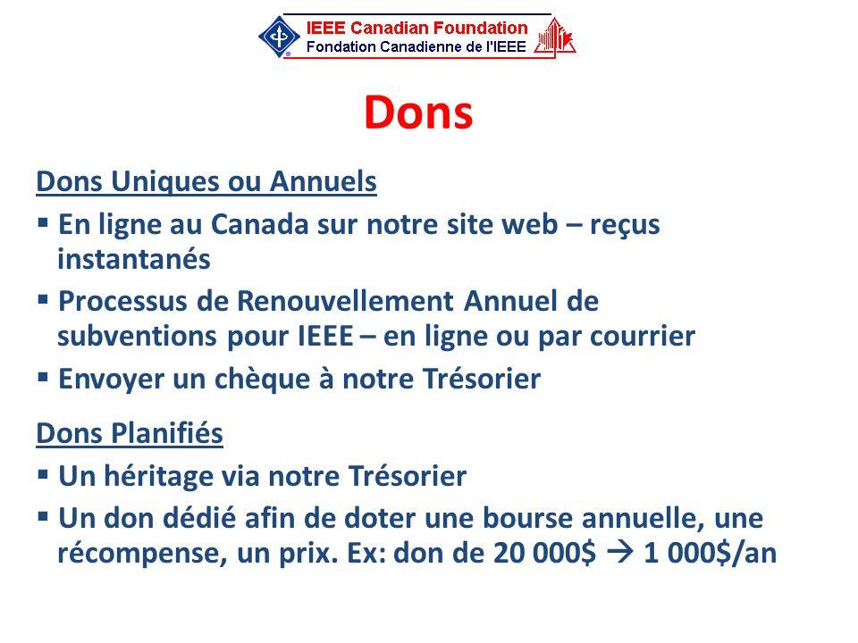 Dons Dons Uniques ou Annuels En ligne au Canada sur notre site web – reçus instantanés Processus de Renouvellement Annuel de subventions pour IEEE – e
