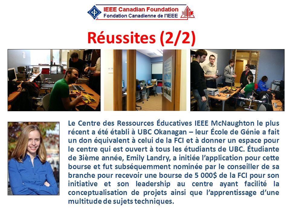 Réussites (2/2) Le Centre des Ressources Éducatives IEEE McNaughton le plus récent a été établi à UBC Okanagan – leur École de Génie a fait un don équ