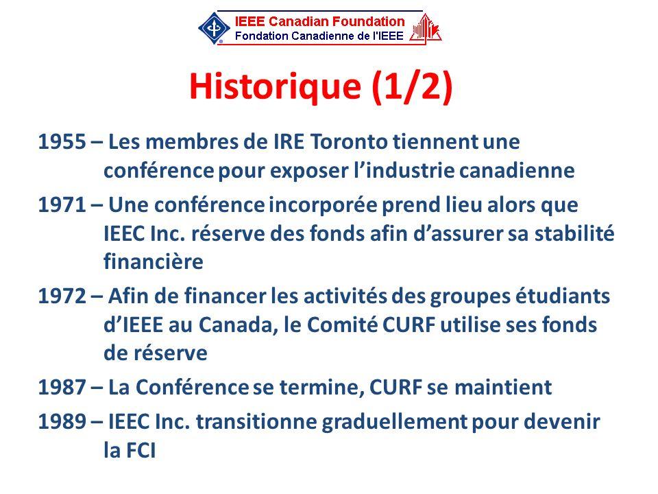 Historique (1/2) 1955 – Les membres de IRE Toronto tiennent une conférence pour exposer lindustrie canadienne 1971 – Une conférence incorporée prend l
