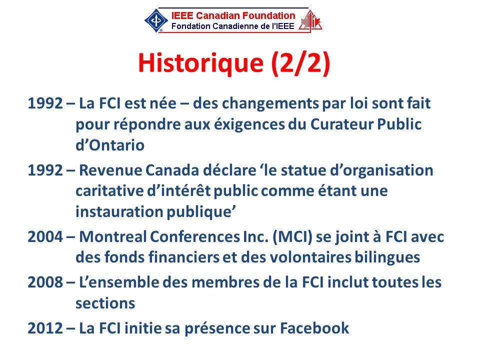 Historique (2/2) 1992 – La FCI est née – des changements par loi sont fait pour répondre aux éxigences du Curateur Public dOntario 1992 – Revenue Cana