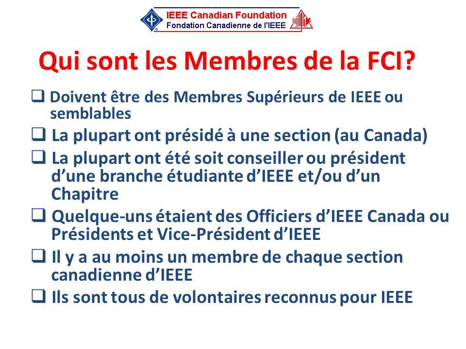 Qui sont les Membres de la FCI? Doivent être des Membres Supérieurs de IEEE ou semblables La plupart ont présidé à une section (au Canada) La plupart