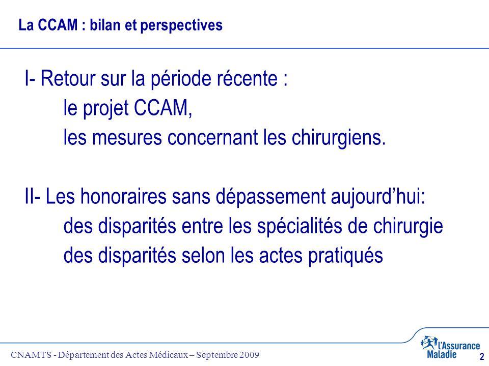 CNAMTS - Département des Actes Médicaux – Septembre 2009 2 La CCAM : bilan et perspectives I- Retour sur la période récente : le projet CCAM, les mesu