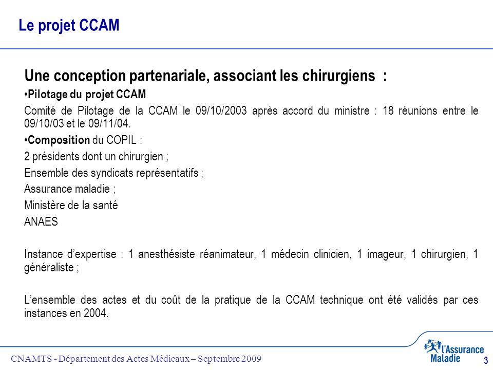 CNAMTS - Département des Actes Médicaux – Septembre 2009 3 Le projet CCAM Une conception partenariale, associant les chirurgiens : Pilotage du projet
