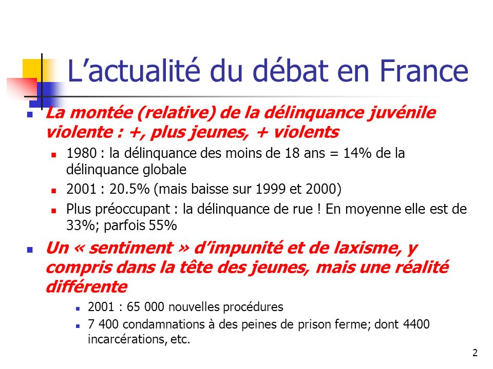 2 Lactualité du débat en France La montée (relative) de la délinquance juvénile violente : +, plus jeunes, + violents 1980 : la délinquance des moins