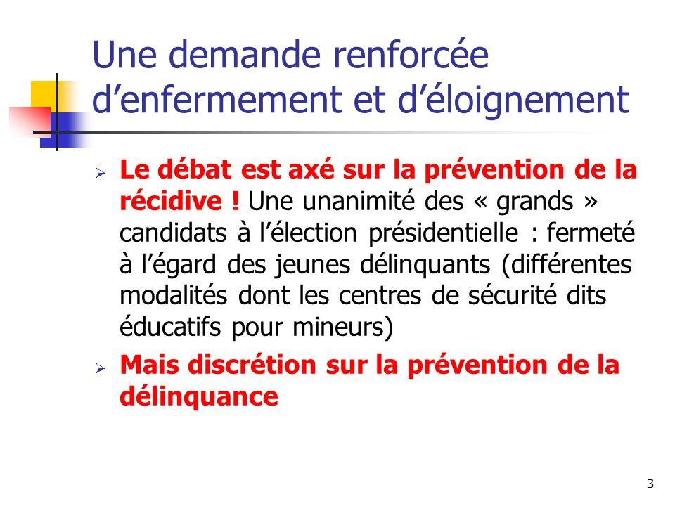 3 Une demande renforcée denfermement et déloignement Le débat est axé sur la prévention de la récidive ! Une unanimité des « grands » candidats à léle