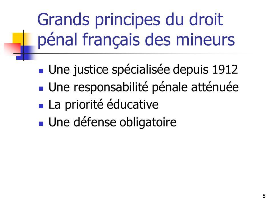 5 Grands principes du droit pénal français des mineurs Une justice spécialisée depuis 1912 Une responsabilité pénale atténuée La priorité éducative Un