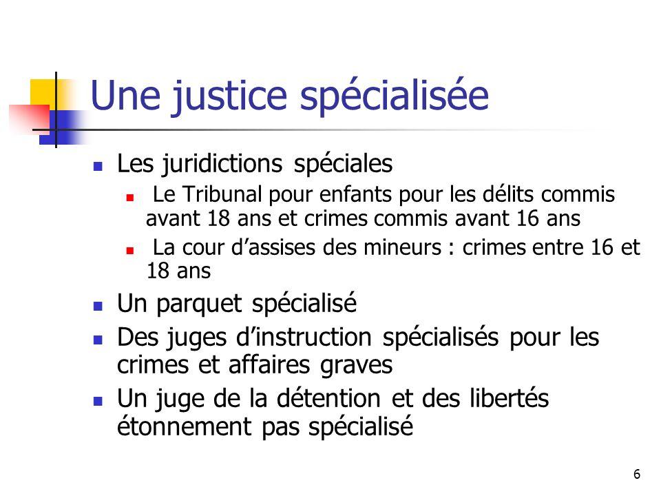 6 Une justice spécialisée Les juridictions spéciales Le Tribunal pour enfants pour les délits commis avant 18 ans et crimes commis avant 16 ans La cou