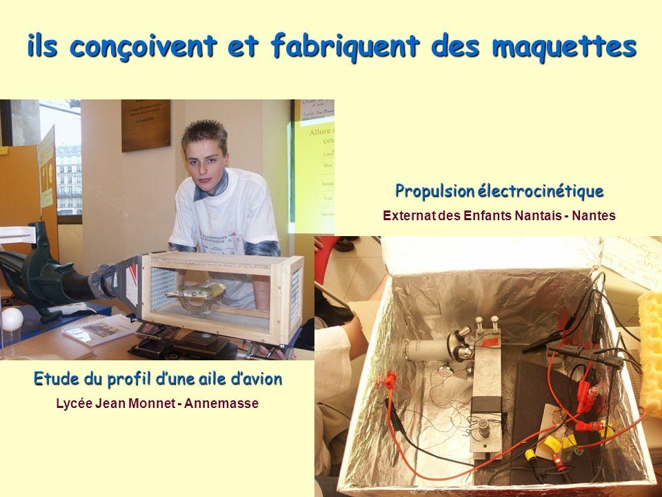 ils conçoivent et fabriquent des maquettes Etude du profil dune aile davion Lycée Jean Monnet - Annemasse Propulsion électrocinétique Externat des Enf
