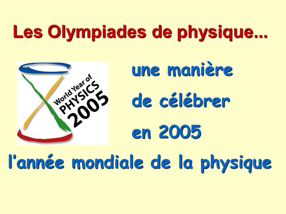 Merci : à ALCATEL, à AREVA, au CEA, à SAINT-GOBAIN et à THALES pour leurs partenariats qui font vivre les Olympiades de physique, à ALCATEL, à AREVA, au CEA, à SAINT-GOBAIN et à THALES pour leurs partenariats qui font vivre les Olympiades de physique, au Ministère de la jeunesse, de l éducation nationale et de la recherche, au Ministère délégué à la recherche et aux nouvelles technologies et au CNRS pour leurs soutiens financiers.
