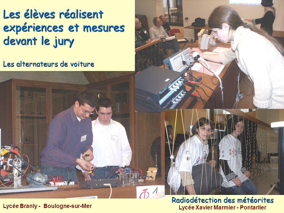 Les élèves réalisent expériences et mesures devant le jury Radiodétection des météorites Lycée Xavier Marmier - Pontarlier Les alternateurs de voiture