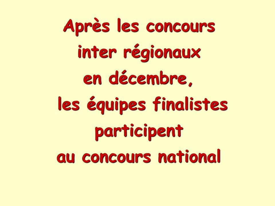 Après les concours inter régionaux en décembre, les équipes finalistes participent au concours national Après les concours inter régionaux en décembre