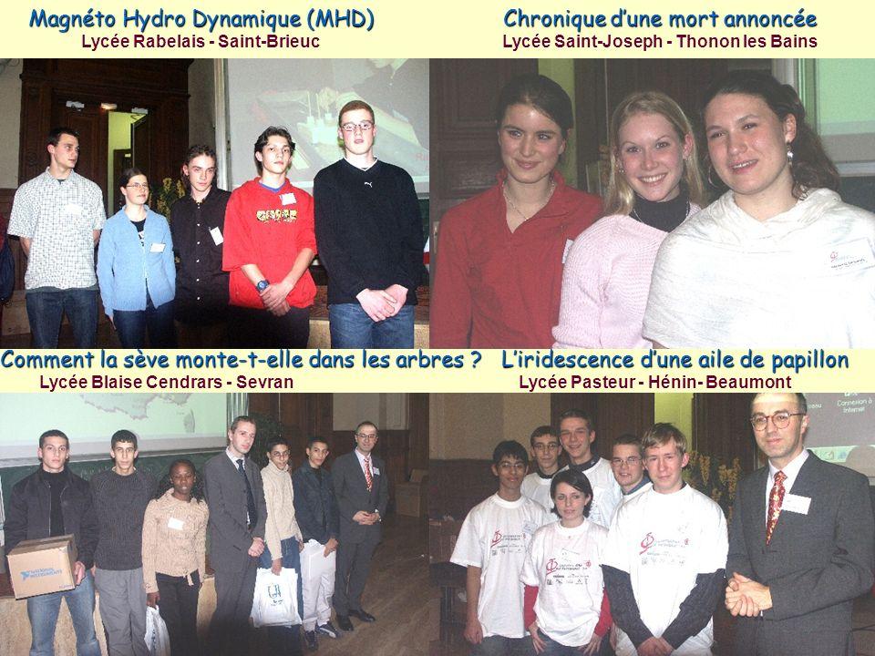 Magnéto Hydro Dynamique (MHD) Lycée Rabelais - Saint-Brieuc Chronique dune mort annoncée Lycée Saint-Joseph - Thonon les Bains Comment la sève monte-t