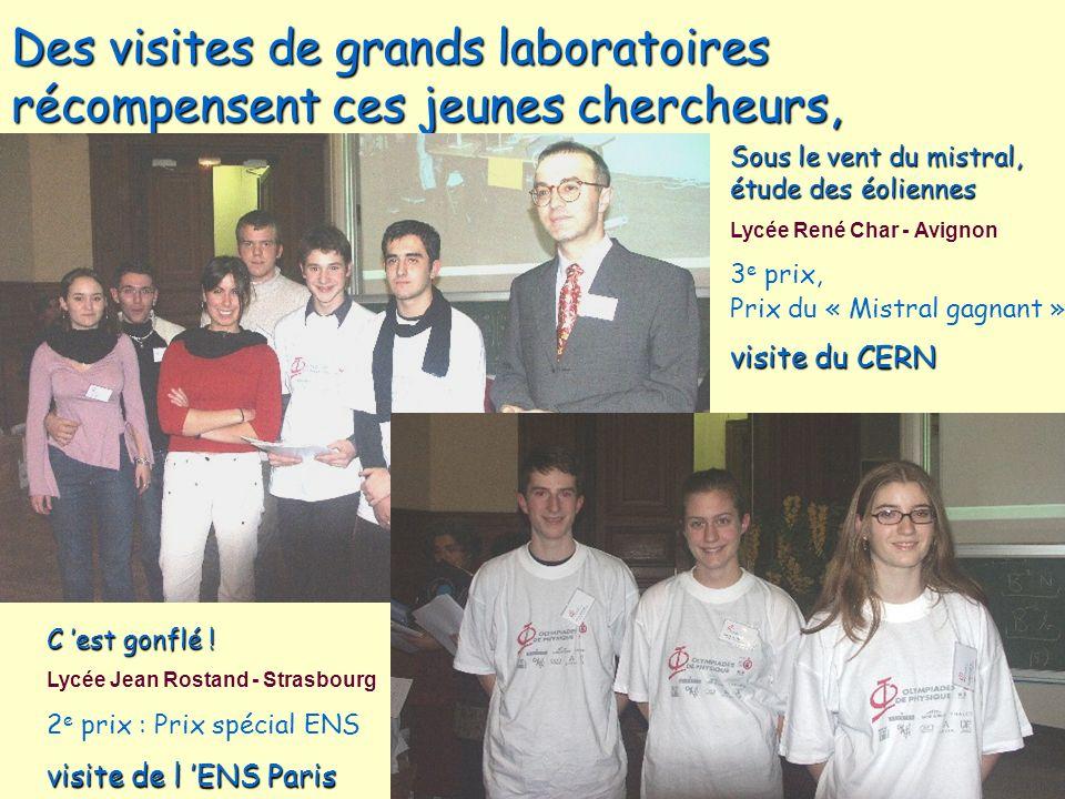 Des visites de grands laboratoires récompensent ces jeunes chercheurs, Sous le vent du mistral, étude des éoliennes Lycée René Char - Avignon 3 e prix