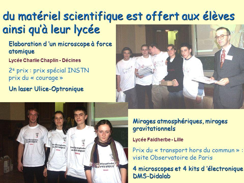 du matériel scientifique est offert aux élèves ainsi quà leur lycée Elaboration d un microscope à force atomique Lycée Charlie Chaplin - Décines 2 e p