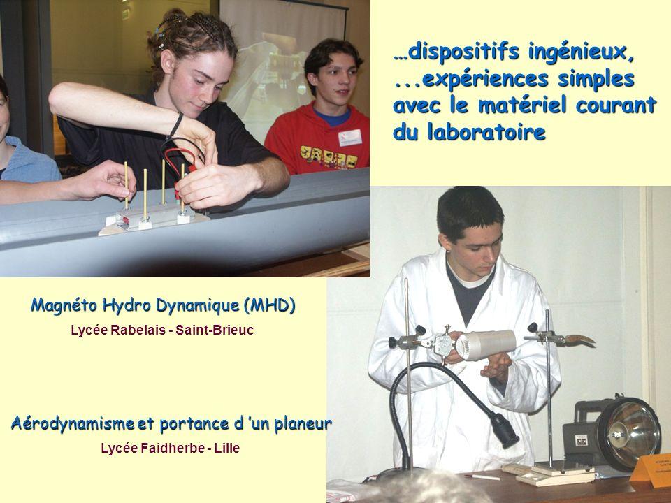 Magnéto Hydro Dynamique (MHD) Lycée Rabelais - Saint-Brieuc Aérodynamisme et portance d un planeur Lycée Faidherbe - Lille …dispositifs ingénieux,...e