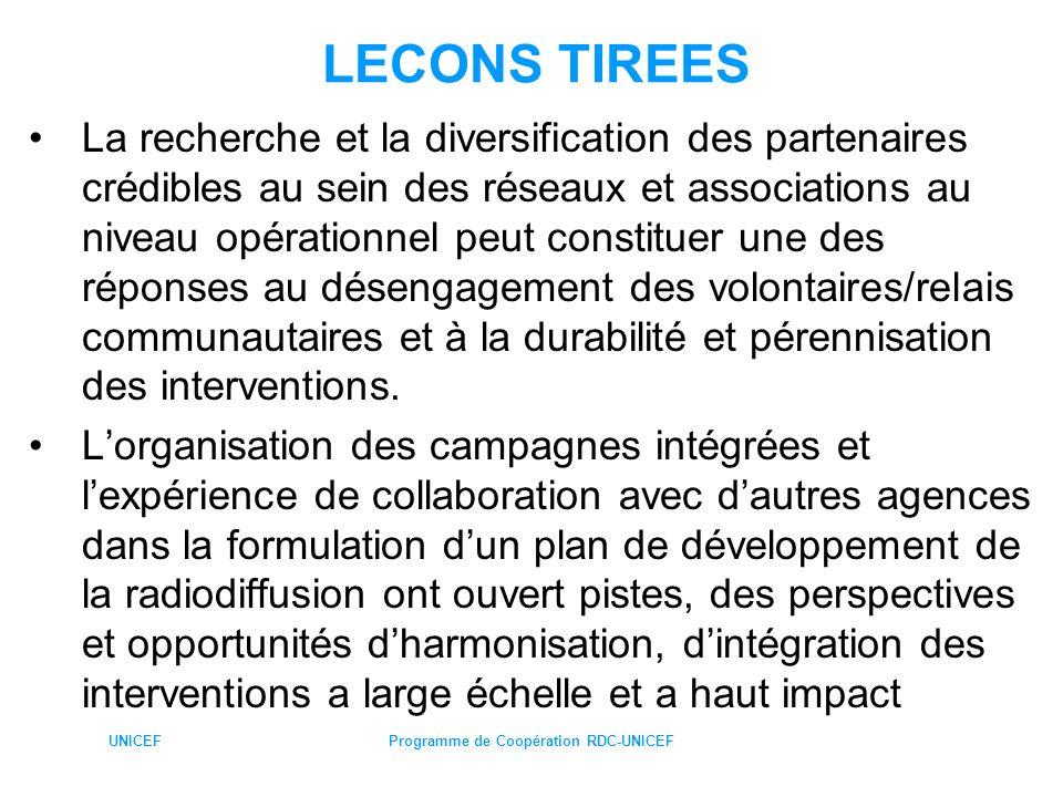 UNICEFProgramme de Coopération RDC-UNICEF LECONS TIREES La recherche et la diversification des partenaires crédibles au sein des réseaux et associatio
