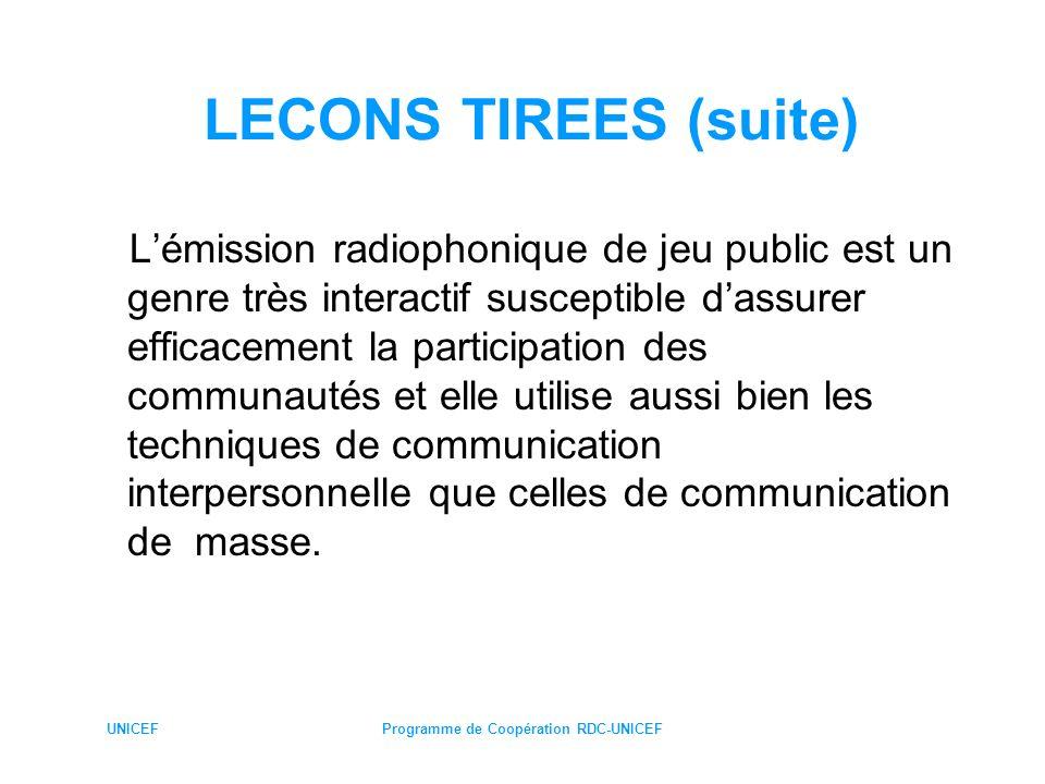 UNICEFProgramme de Coopération RDC-UNICEF LECONS TIREES (suite) Lémission radiophonique de jeu public est un genre très interactif susceptible dassure