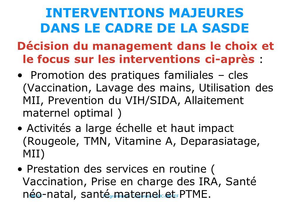 UNICEFProgramme de Coopération RDC-UNICEF INTERVENTIONS MAJEURES DANS LE CADRE DE LA SASDE Décision du management dans le choix et le focus sur les in