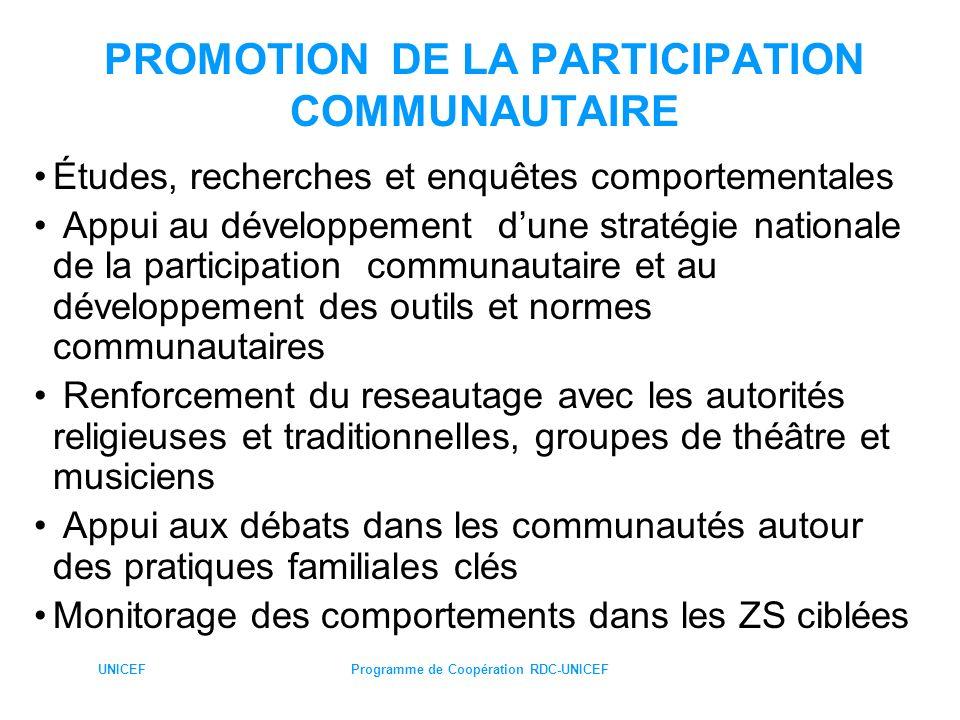 UNICEFProgramme de Coopération RDC-UNICEF PROMOTION DE LA PARTICIPATION COMMUNAUTAIRE Études, recherches et enquêtes comportementales Appui au dévelop