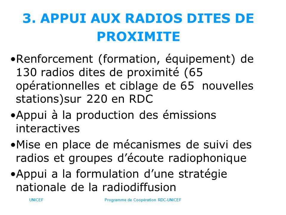 UNICEFProgramme de Coopération RDC-UNICEF 3. APPUI AUX RADIOS DITES DE PROXIMITE Renforcement (formation, équipement) de 130 radios dites de proximité
