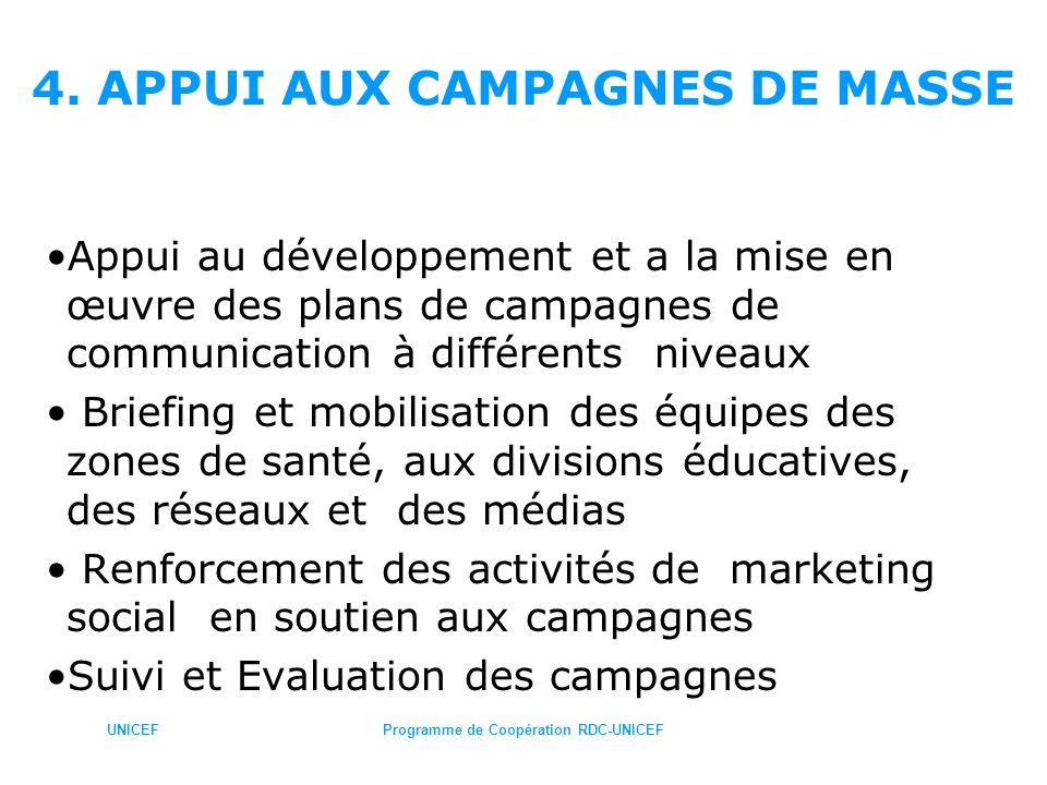 UNICEFProgramme de Coopération RDC-UNICEF 4. APPUI AUX CAMPAGNES DE MASSE Appui au développement et a la mise en œuvre des plans de campagnes de commu