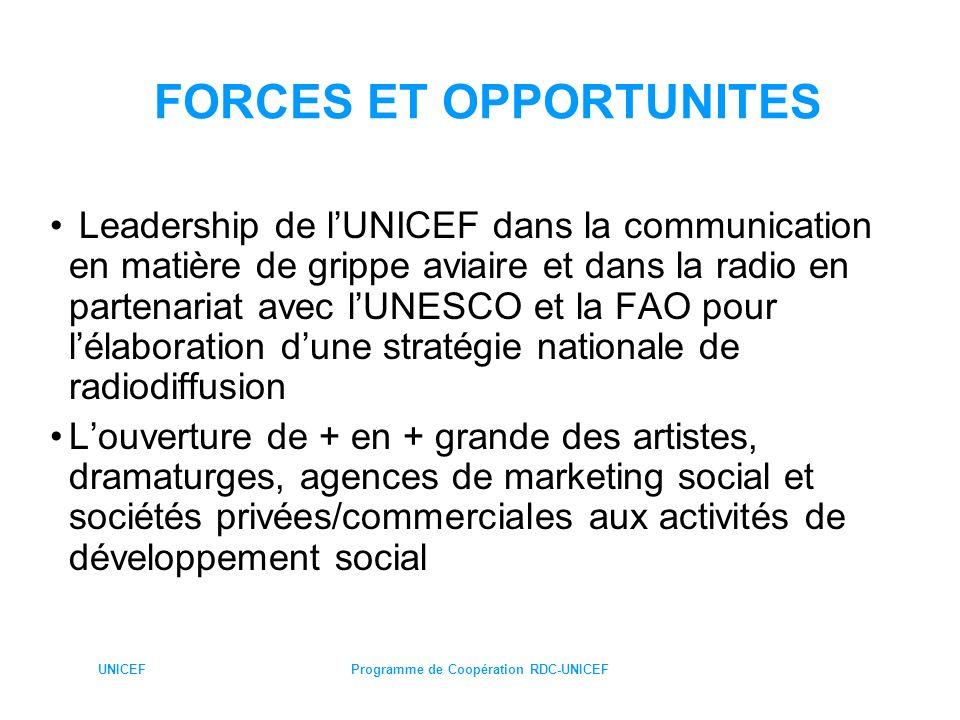 UNICEFProgramme de Coopération RDC-UNICEF FAIBLESSES ET MENACES Faible appropriation/responsabilisation communautaire: absence de vision stratégique, déperdition des acteurs communautaires (RC, membres des CAC ….) due à la démotivation Faible capacité des structures de participation à dialoguer et à négocier avec les familles : accent plus porté sur la diffusion des messages