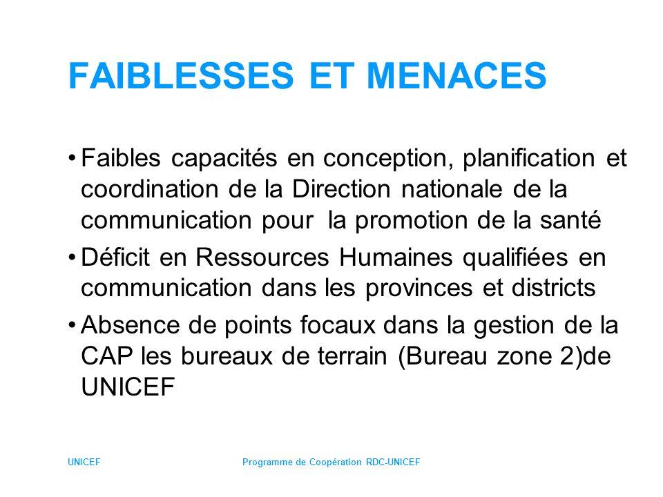 UNICEFProgramme de Coopération RDC-UNICEF FAIBLESSES ET MENACES Faibles capacités en conception, planification et coordination de la Direction nationa