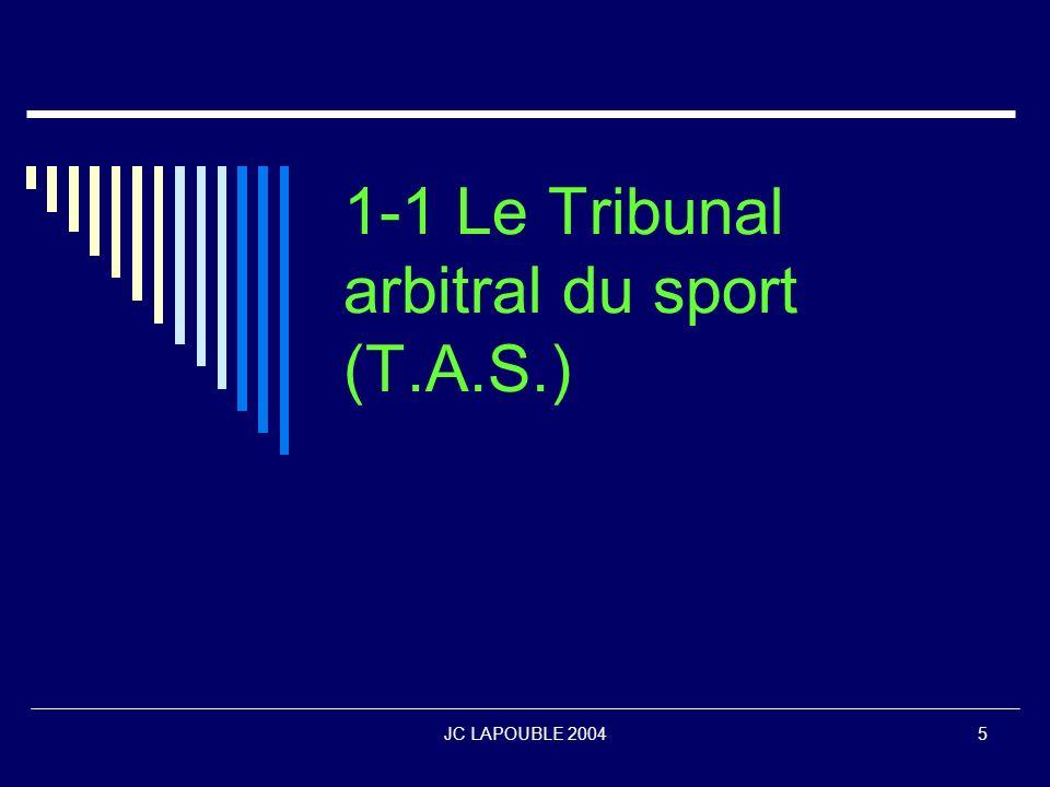 JC LAPOUBLE 20046 Les origines du Tribunal arbitral du sport (T.A.S.) Lorigine de la création du TAS date de 1981 avec le nouveau président du CIO, Juan Antonio Samaranch.