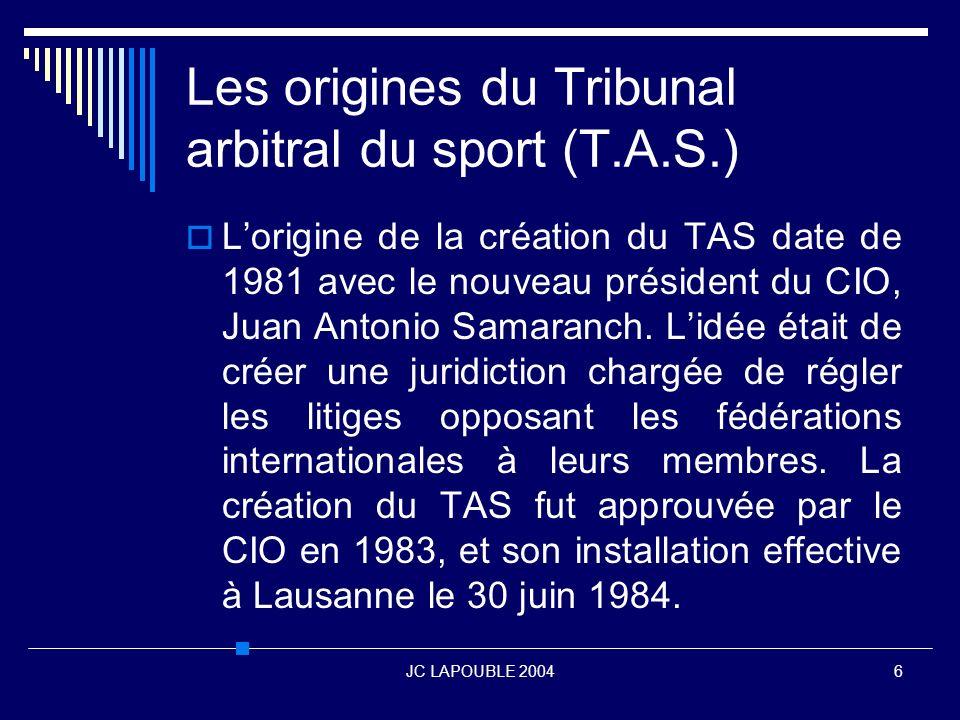 JC LAPOUBLE 200437 Conclusion Les modes de règlement alternatifs des conflits sportifs doivent, comme le bon vin être utilisé avec modération.