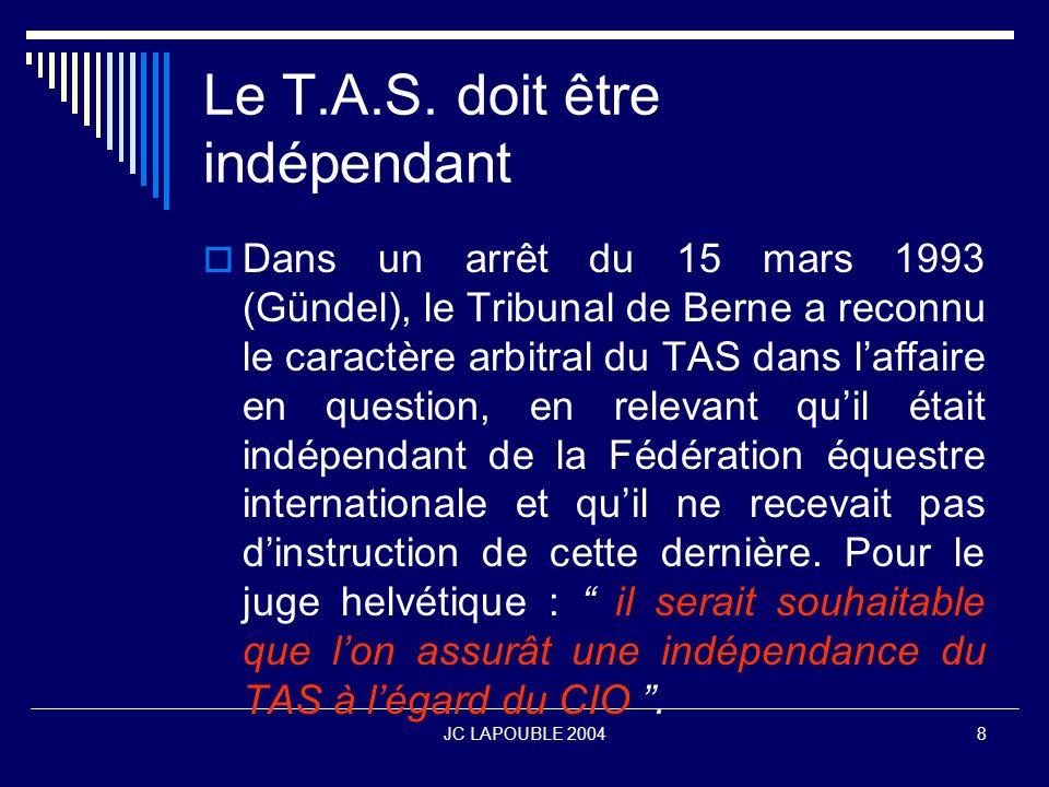 JC LAPOUBLE 200419 Quel contrôle pour le T.A.S.Contrôle international J.P.