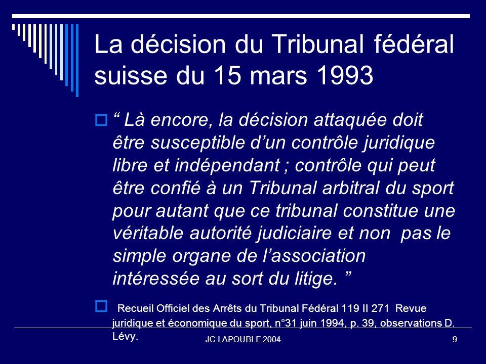 JC LAPOUBLE 200410 La nature du T.A.S.